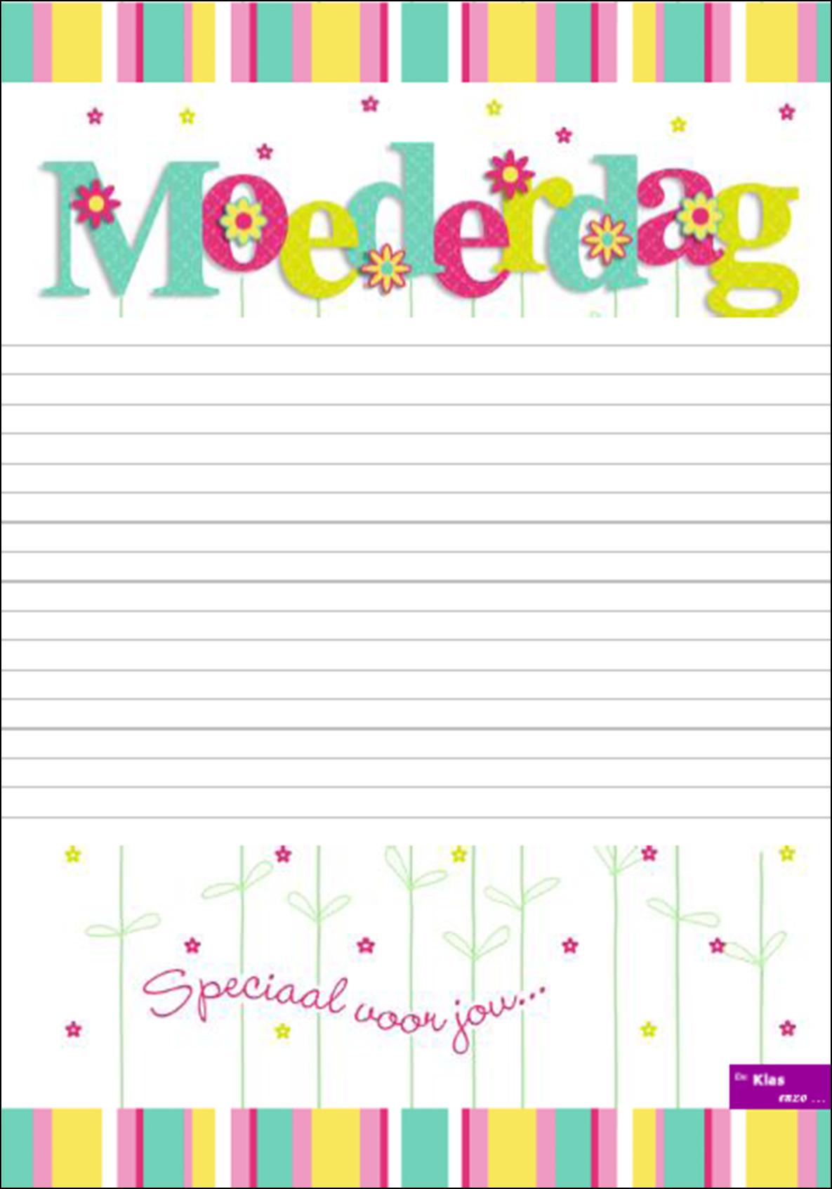 Mooie Kleurplaten Voor Moederdag.Moederdag Gedichtenblad Grote Regels Www Nazia Nl De Klas Enzo